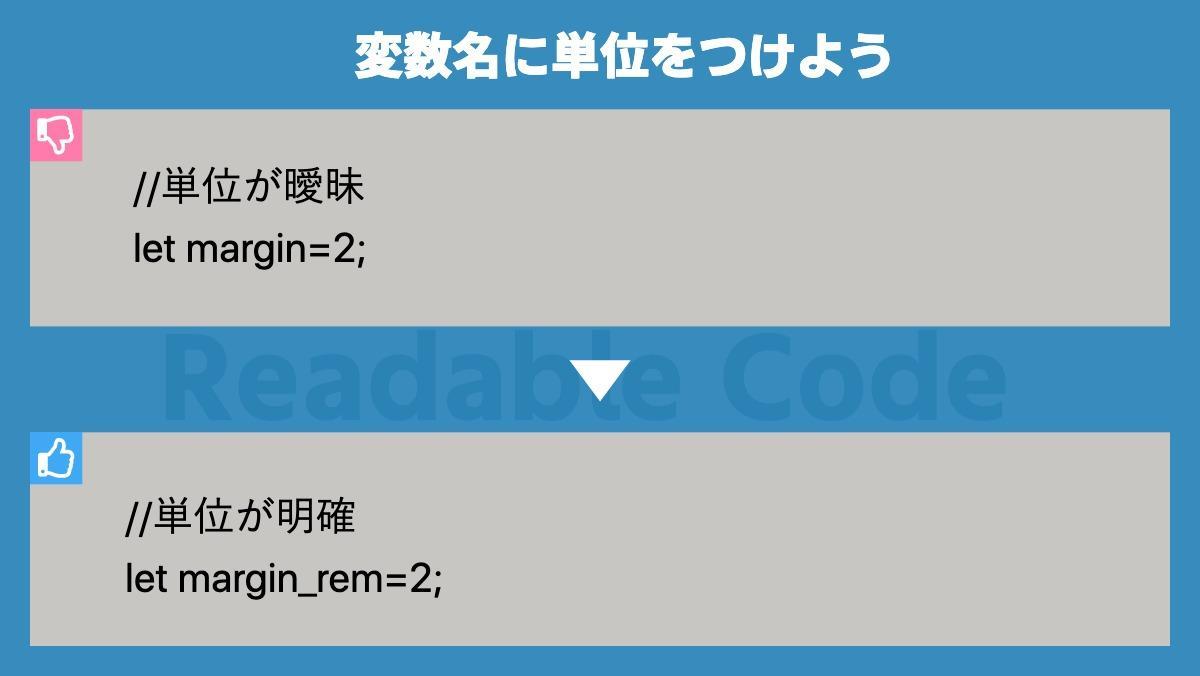 変数名に単位をつけよう//単位が曖昧 let margin=2;Readable Code//単位が明確 let margin_rem=2;