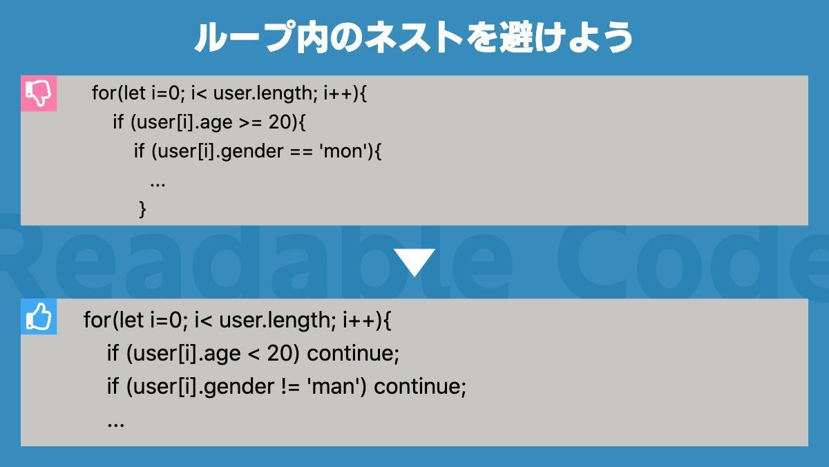 ループ内のネストを避けようfor(let i=0; i< user.length; i++){     if (user[i].age >= 20){         if (user[i].ge