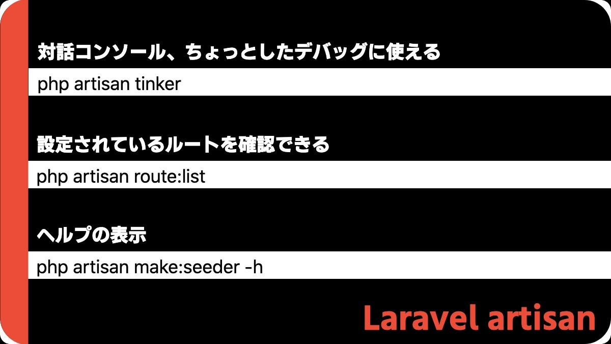 Laravel artisan対話コンソール、ちょっとしたデバッグに使えるphp artisan tinker設定されているルートを確認できるphp artisan route:listヘルプの表示p