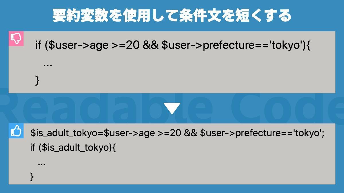 要約変数を使用して条件文を短くするif ($user->age >=20 && $user->prefecture=='tokyo'){    ... } Readable Code$is_ad