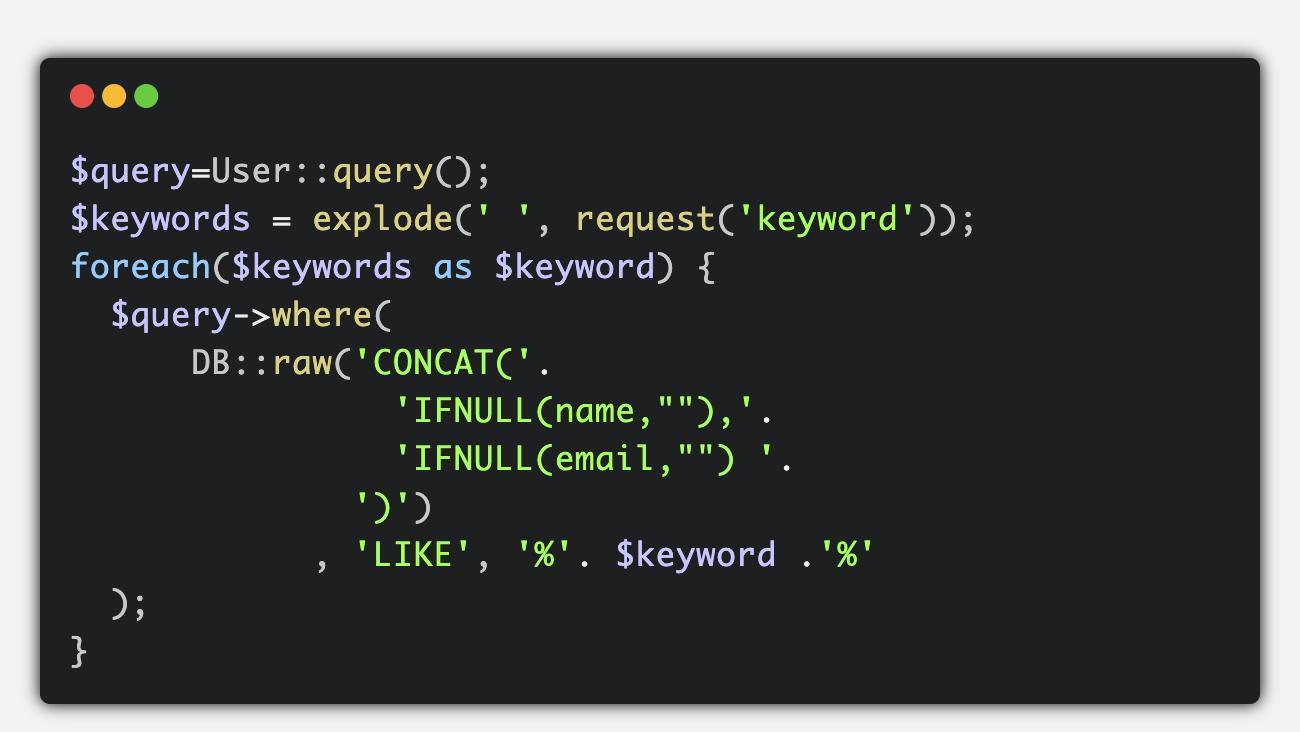 $query=User::query();$keywords = explode(' ', request('keyword'));foreach($keywords as $keyword) {